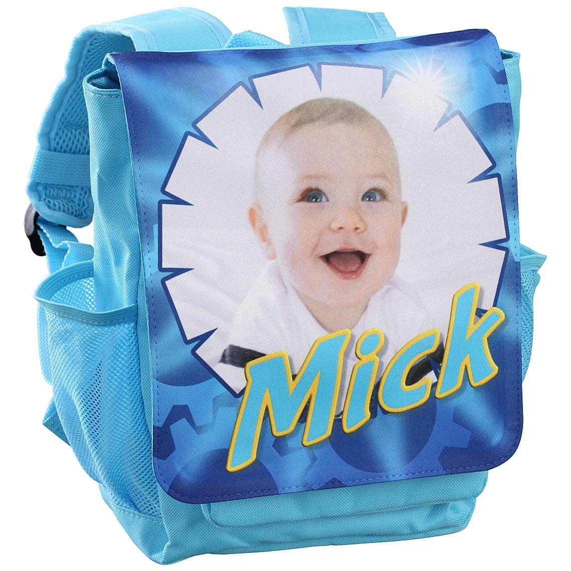 Kinderrucksack mit Namen / Foto - hellblau